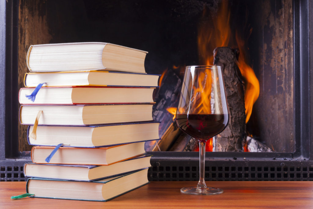 Books-and-wine-fire-place