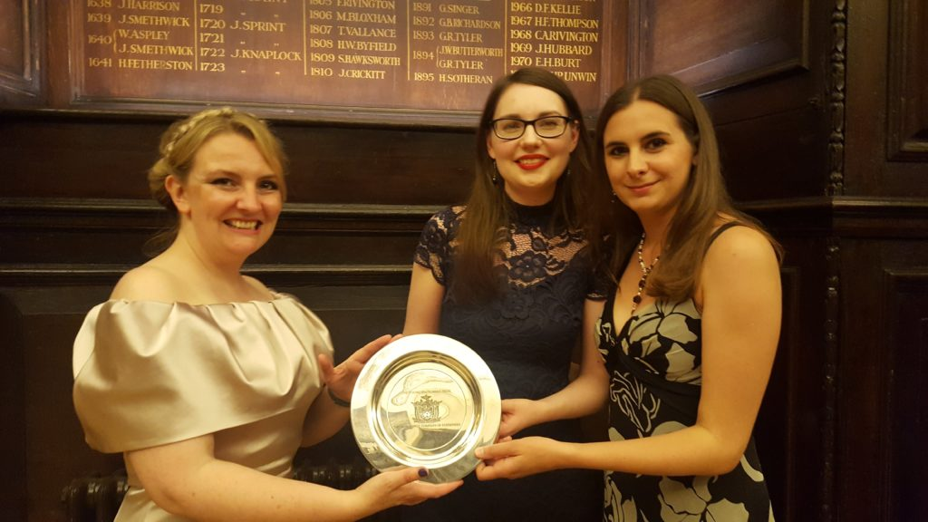 From left to right: Angela Clarke (2015 winner), Bryony Woods and Ella Kahn.